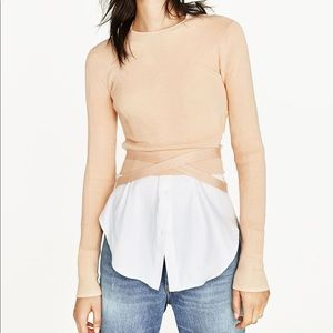 Zara cropped sweater with ribbon